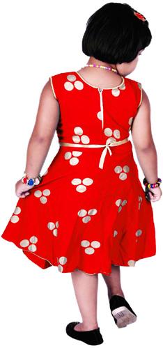 Girls Midi/Knee Length Casual Red Dress