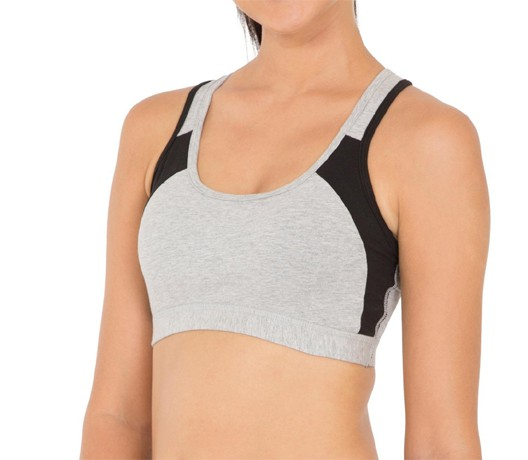 Stoc Light Grey & Black Padded Bra