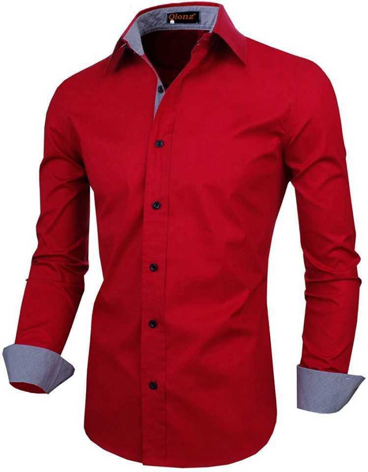 Men Regular Fit Solid Spread Collar Casual Shirt