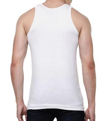 White Cotton Mens Plain Vest