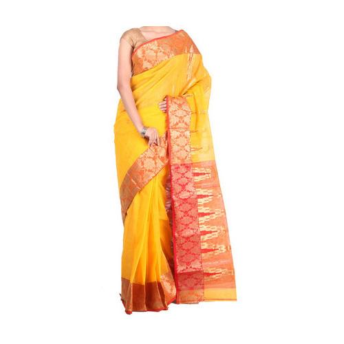 Tant Handloom Cotton Saree  (Yellow)