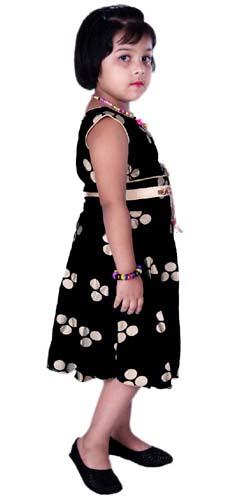 Girls Midi/Knee Length Casual Black Dress