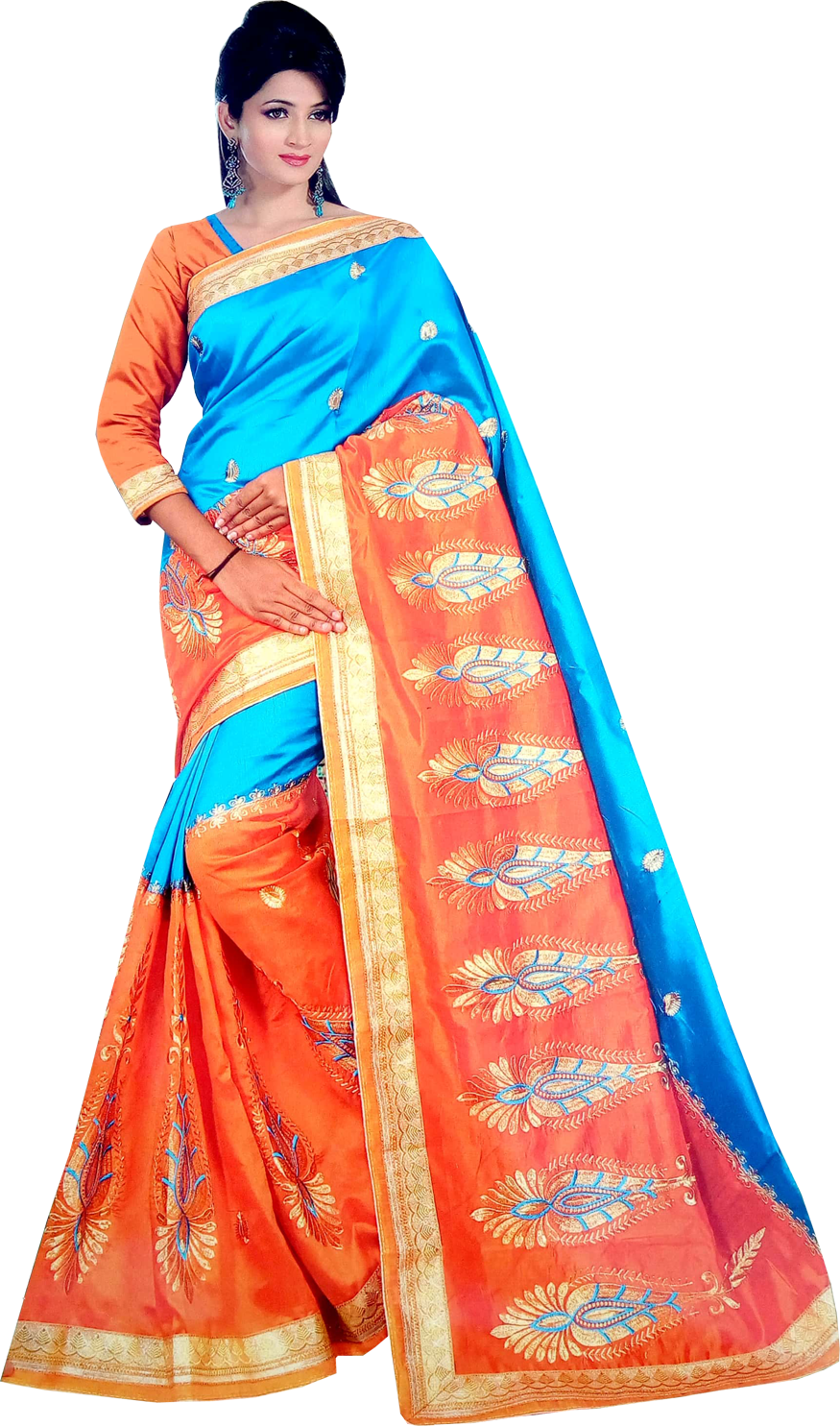 Embroidered Embellished Synthetic saree