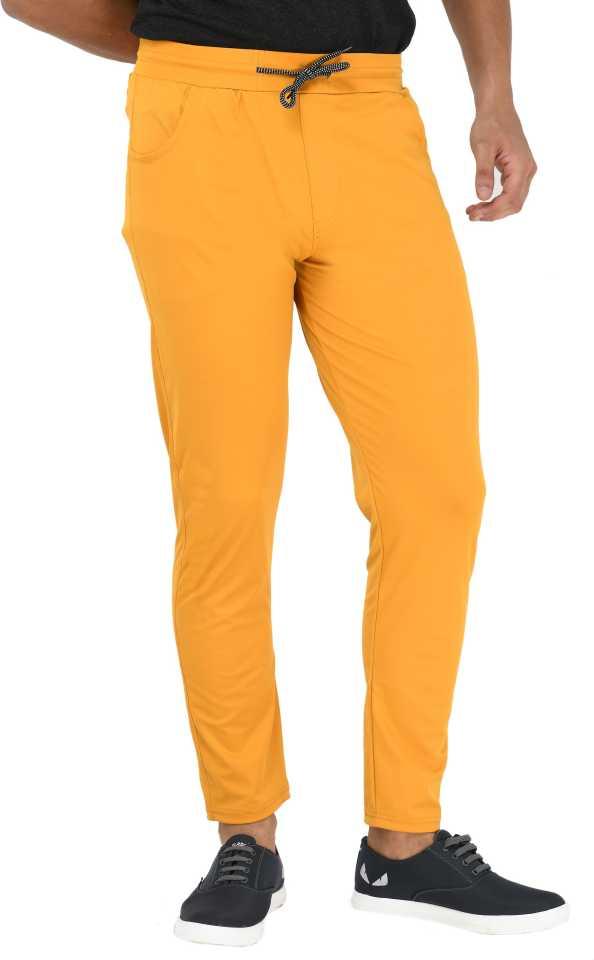 Solid Men Yellow Track Pants