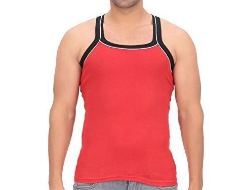 Red Cotton Mens Plain Vest