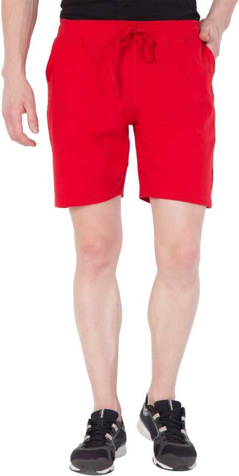 Solid Men Red Regular Shorts