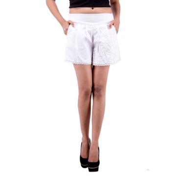 Women's White Culotte Shorts