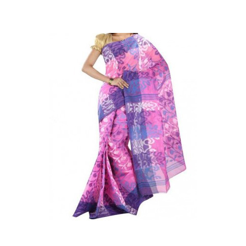 Tant Handloom Cotton Saree  (Pink)