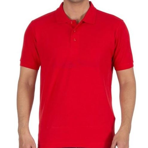 Solid Men Polo Red T-Shirt
