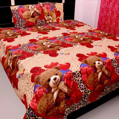 Polycotton Double 3D Printed Bedsheet with 2 Pillow Covers  (Pack of 1, red heart and red roses, brown)