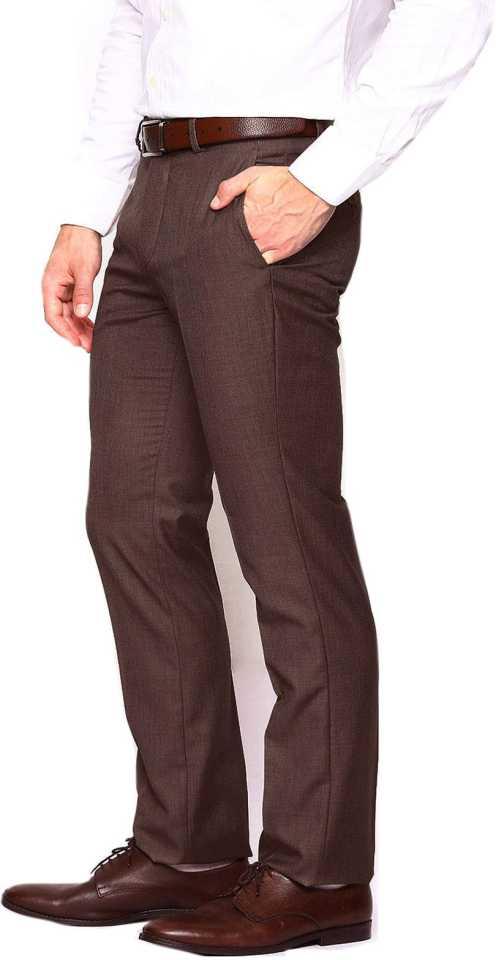 Slim Fit Brown Cotton Blend Men Trousers