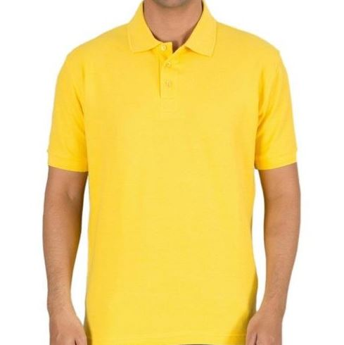 Solid Men Polo Yellow T-Shirt
