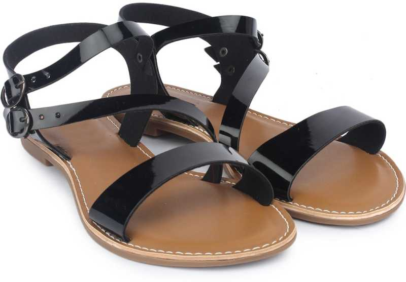 Women Black Flats Sandal