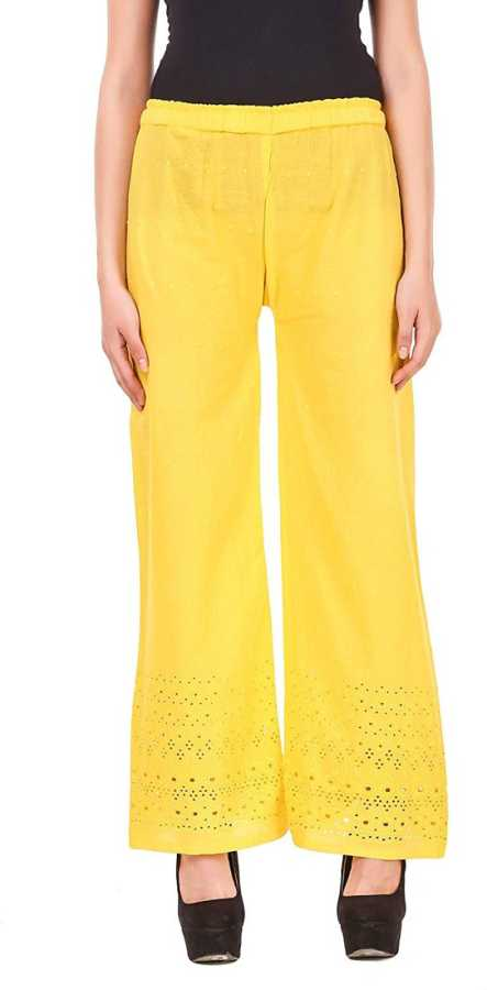 Slim Fit Women Yellow Pure Cotton Trousers
