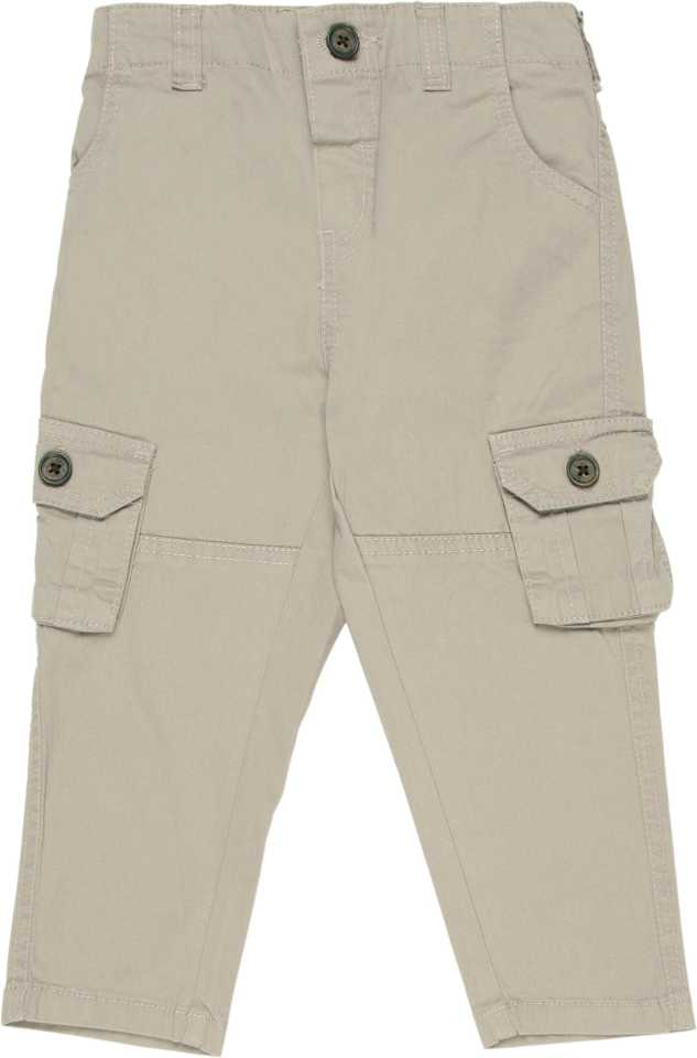 Regular Fit Baby Boys Grey Cotton Blend Trousers
