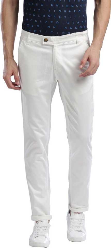 Slim Fit White Cotton Blend Trousers