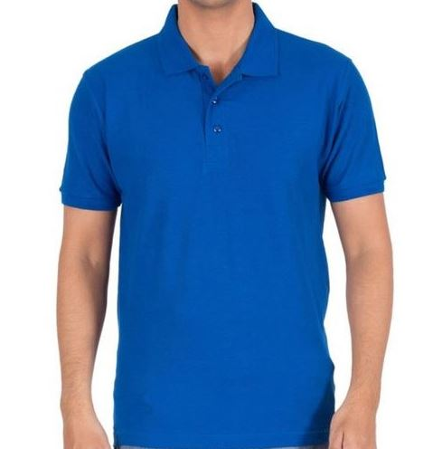 Solid Men Polo Blue T-Shirt