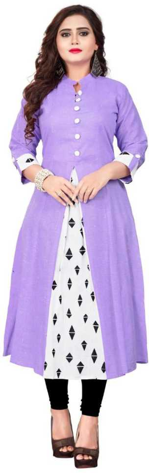Women Printed Cotton Blend Anarkali Kurti