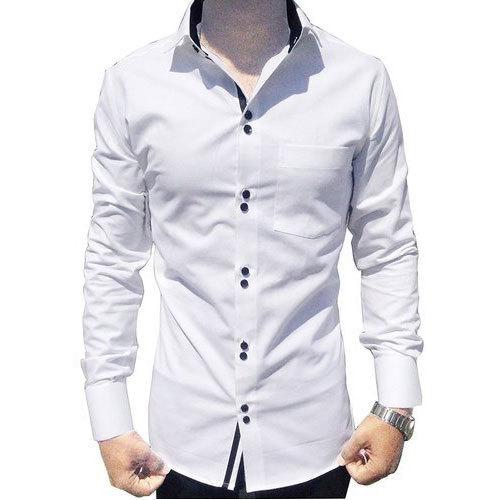 Cotton Printed Mens White Shirt