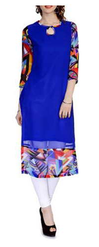 Blue color floral straight kurti