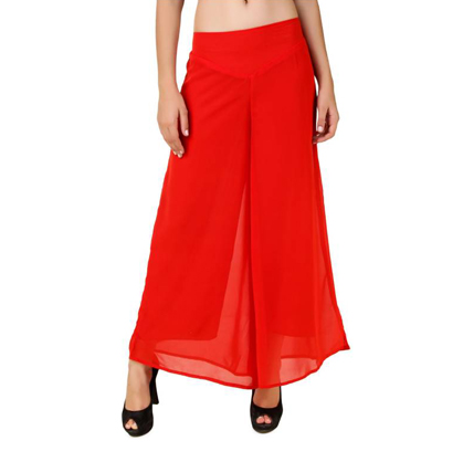 Regular Fit Women's Red Trousers