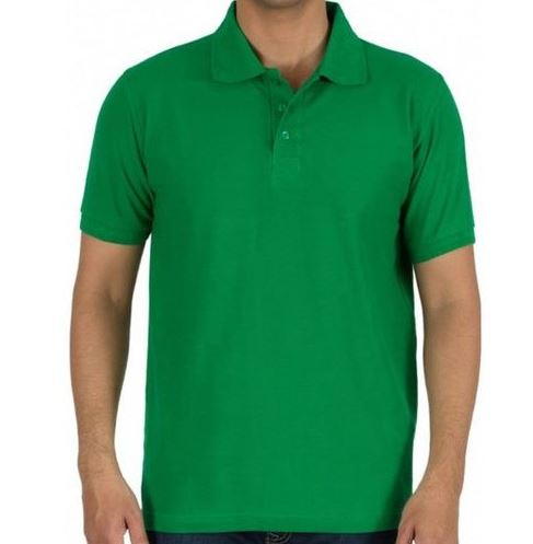 Solid Men Polo Green T-Shirt