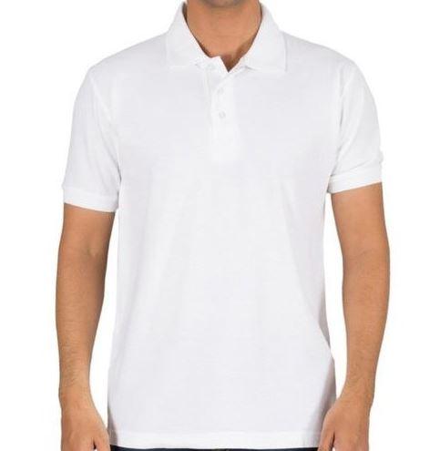 Self Design Men Polo White T-Shirt