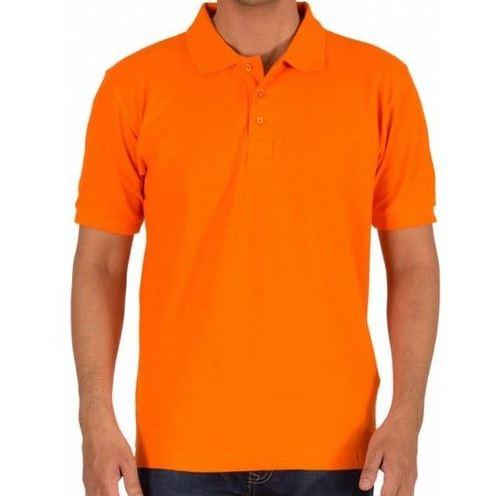 Solid Men Polo Orange T-Shirt