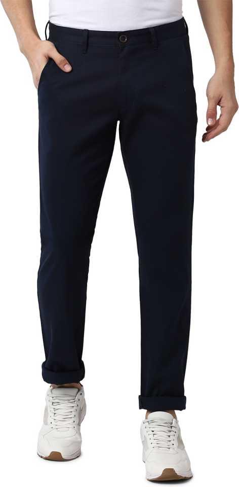 Slim Fit Dark Blue Polycotton Men Trousers